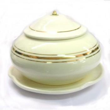 Lampada da Altare Bianca in Porcellana con Oro