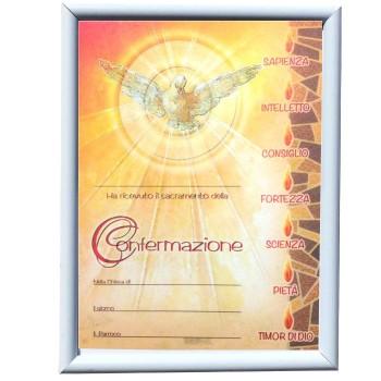 Cornice Bianca con pergamena Cresima 18x24