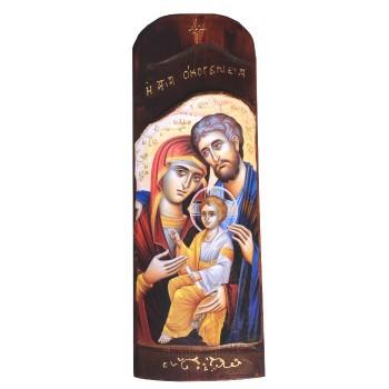Icona Pala Sacra Famiglia, Madonna, Cristo, San Michele 40x14cm
