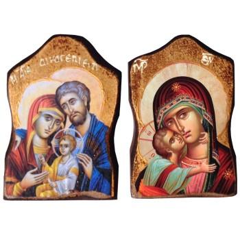 Iconetta Sacra Famiglia, Madonna, Cristo, San Michele 13cm