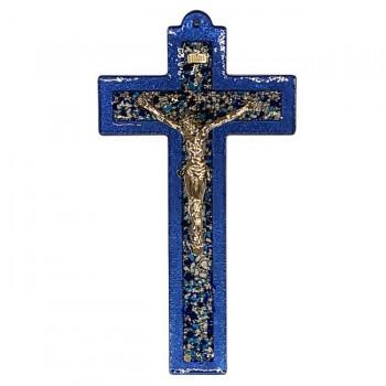 Croce Vetro blu con Cristo e INRI