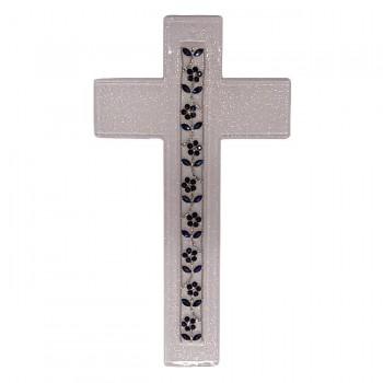 Croce Vetro con Fiori blu