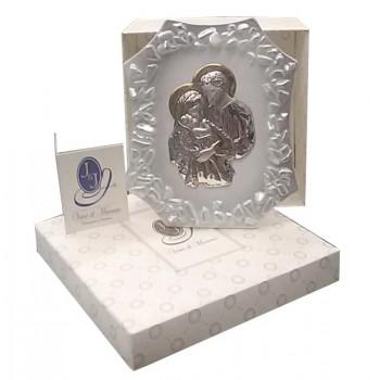 Quadretto Vetro Perlato con Placca Argento Sacra Famiglia