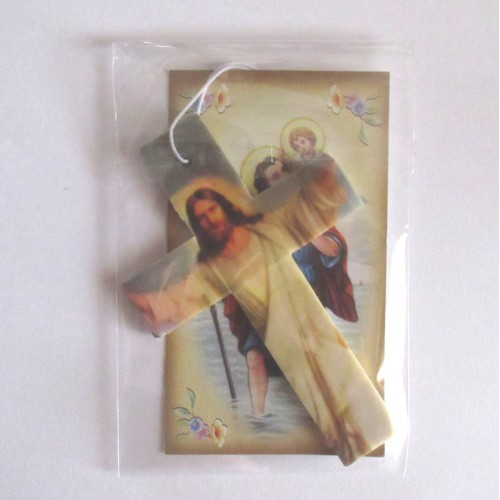 Croce Profumata Cristo con Santino S. Cristoforo