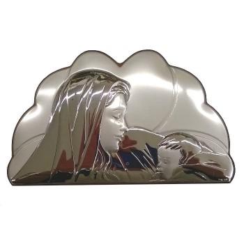 Quadretto Argento Madonna con Bambino 17x11cm