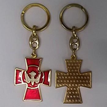 Portachiave in metallo Dorato con Croce e Colomba DA € 2,50