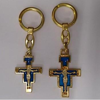 Portachiavi in metallo Dorato con Croce San Damiano DA € 1,80