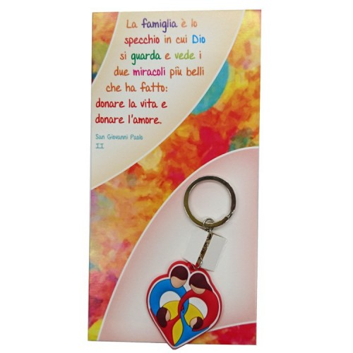Portachiavi colorato Famiglia con cartoncino San Giovanni Paolo II