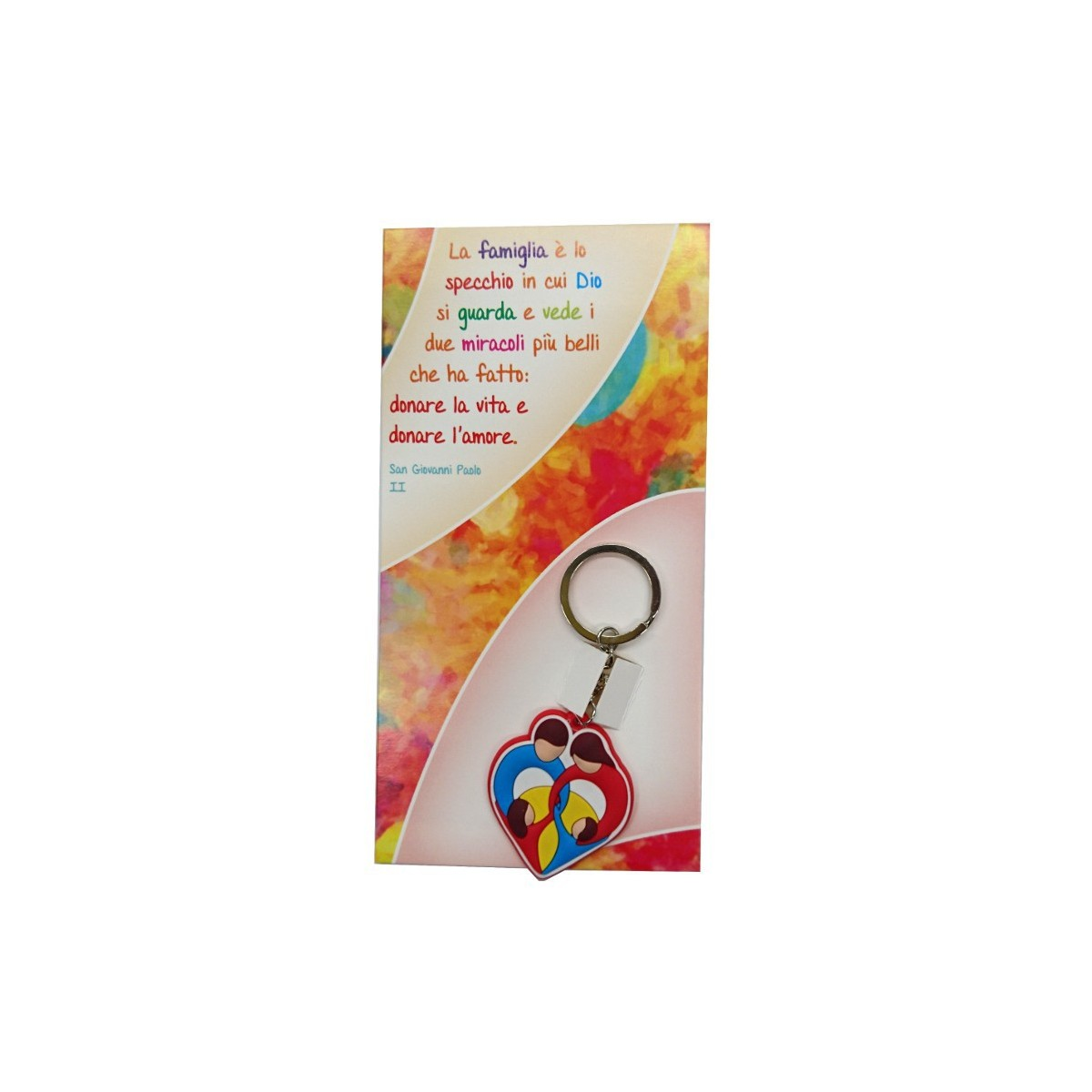 Portachiavi colorato famiglia con cartoncino san giovanni paolo ii alla fonte arte sacra - La famiglia e lo specchio in cui dio si guarda ...