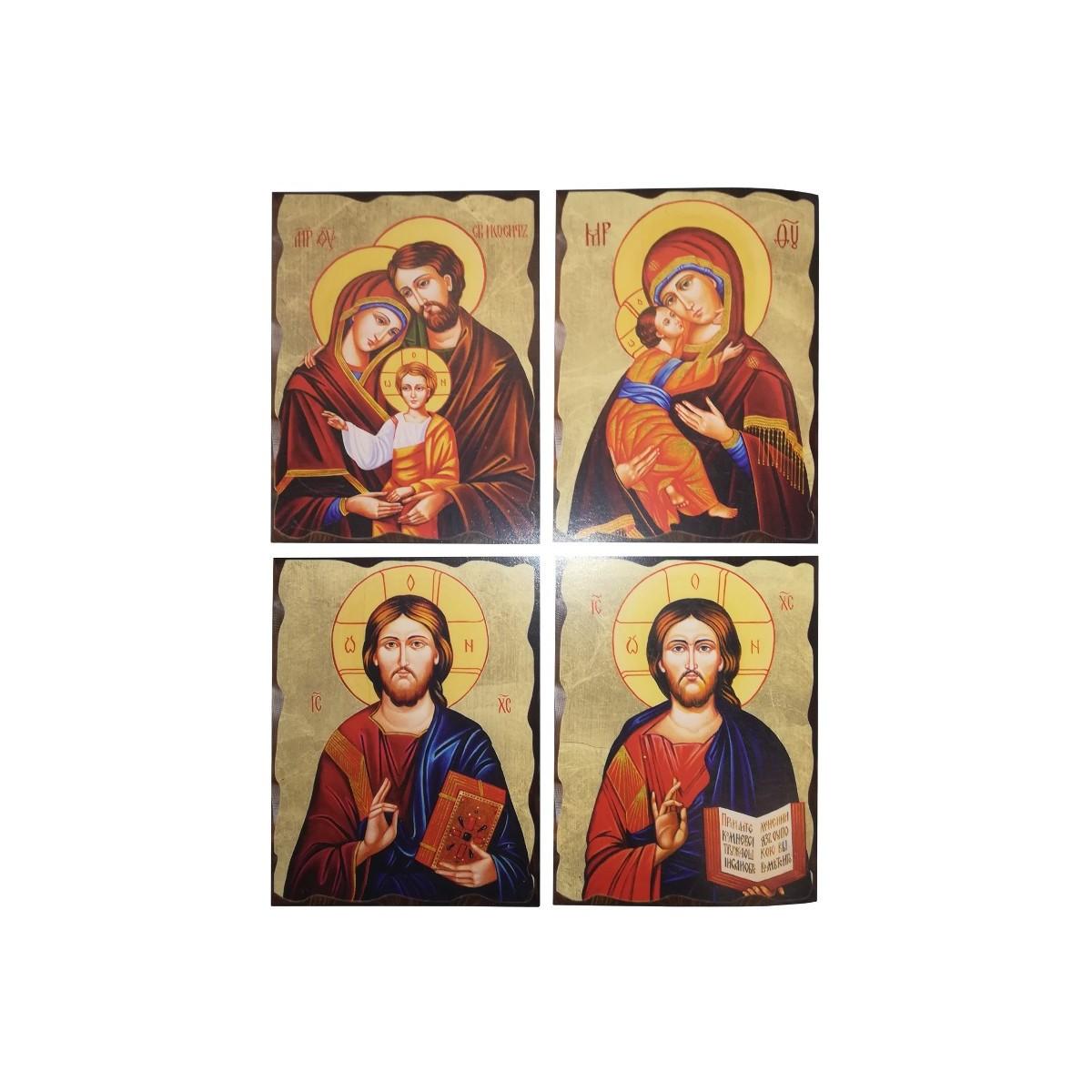 Icona ortodossa in legno massello con foglia oro alla for Quadri in rilievo