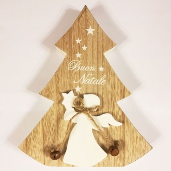 Albero in Legno di Buon Natale con figura Angelo
