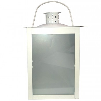 Lanterna in Metallo Bianca 20cm