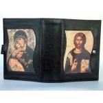Custodia Liturgia delle Ore in Pelle, Gesù Maestro, Madonna con Bambino, bottone