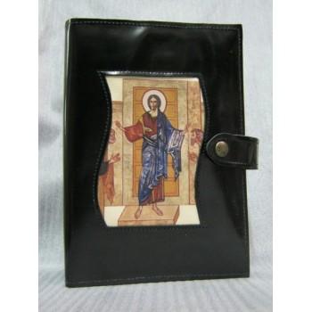 Custodia Liturgia delle Ore in pelle con cerniera, soggetto Cristo