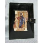 Custodia Liturgia delle Ore in pelle, Apparizione Cristo Risorto, bottone