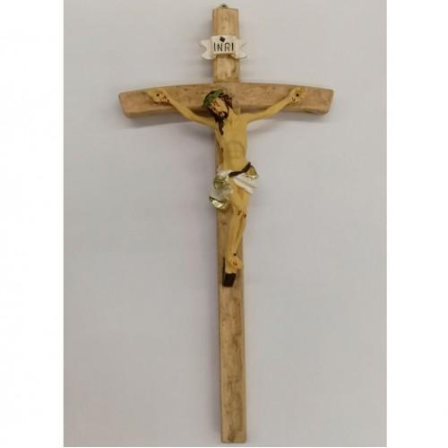 Crocifisso da muro 25cm croce legno, corpo resina
