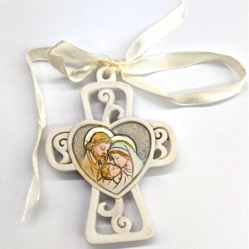 Croce S. Famiglia da appendere o calamita 7cm