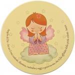 Tavoletta tonda con preghiera angelo di Dio