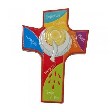 Croce Colorata con 7 Doni Spirito Santo
