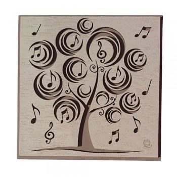 Quadro con Albero e Note Musicali