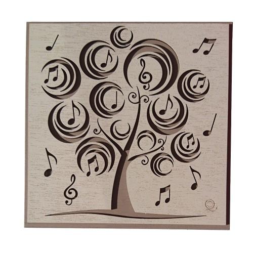 Quadretto con Albero e Note Musicali