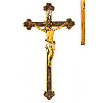 Cristo Pisa su croce barocca (legno)