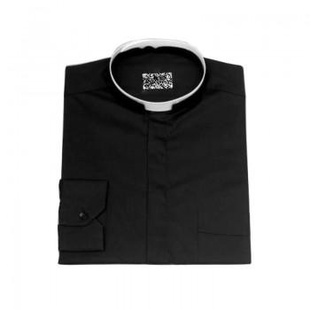 Camicia collo romano tutto cotone Nero