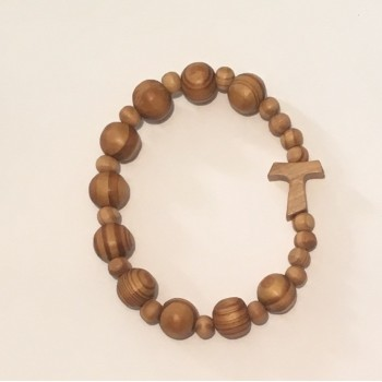 Rosario braccialetto tau legno