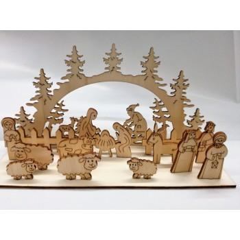 Presepe in legno montabile
