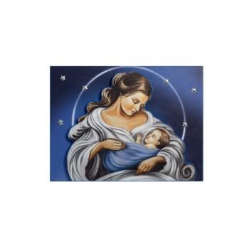 Quadro Legno a Rilievo Madonna sfondo blu 50x70