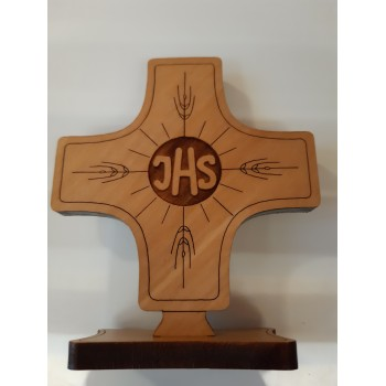 Croce da base IHS in legno di ulivo
