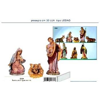 Statue Presepio 30cm 3/6pezzi gomma tipo legno