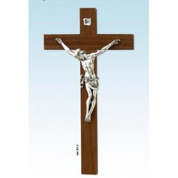 Croce legno noce con corpo in metallo cm.48