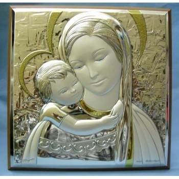 Quadro argento Madonna con Bambino