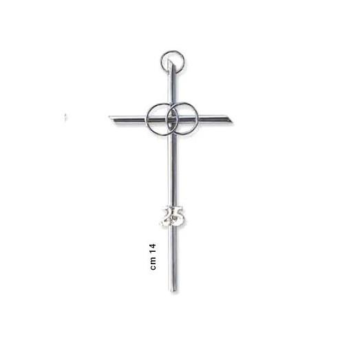 Croce anniversario 14cm con fedi e numero 25