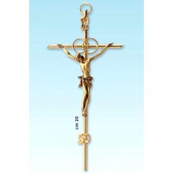 Croce metallo dorata per ann. con corpo