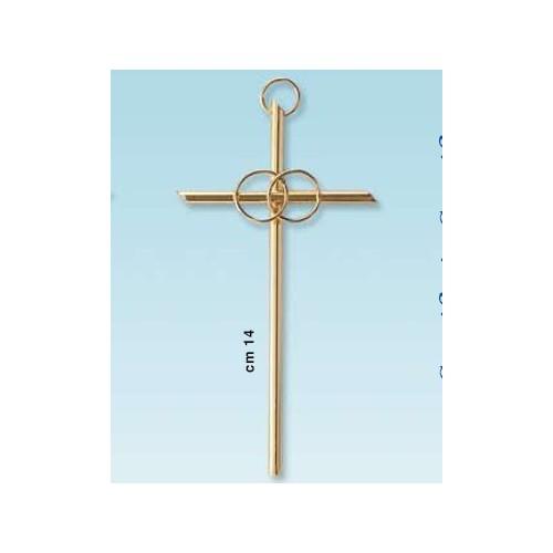 Croce dorata 14cm fedi matrimonio e anniversario