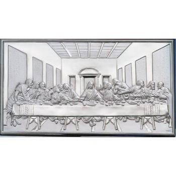 Quadro Ultima Cena in argento, retro legno