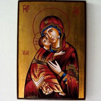 Icona Madonna Bambino - Rosso