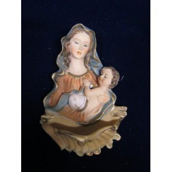 Acquasantiera Madonna con Bambino 11cm