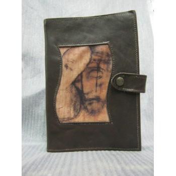 Custodia Bibbia in pelle, Gesù Buon Pastore, bottone