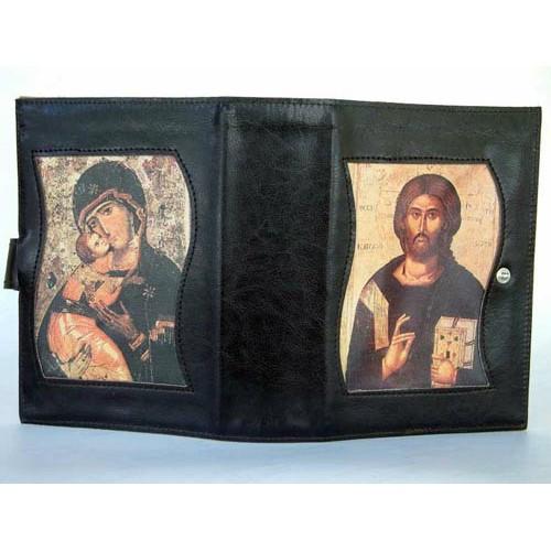 Custodia Bibbia in Pelle, Gesù Maestro, Madonna con Bambino, bottone